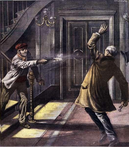 "Vengeance (vendetta) of the ""Mano nera"""" nickname of the Mafia: a friend of Joe Petrosino, a policeman involved in the fight against the Mafia, was assassinated in New York in 1909"