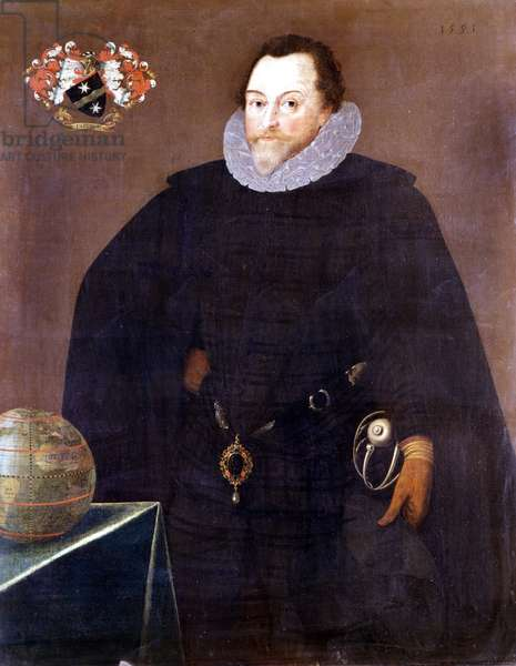 Portrait of Francis Drake (1540 - 1596) in 1591, National Maritime Museum, Greenwich.