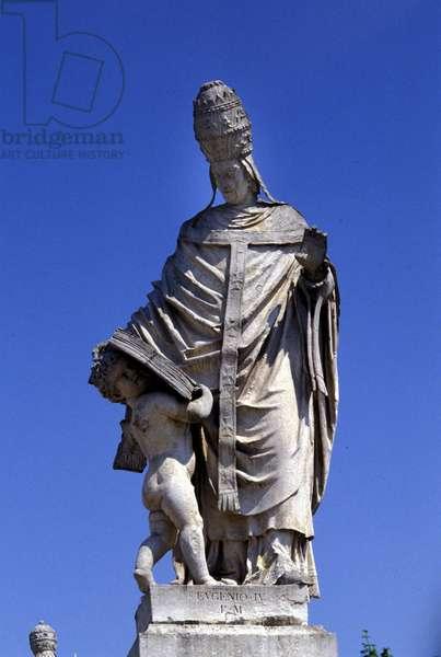 Pope Eugene IV (1383 - 1447), statue in Piazza della Valle, Padua.