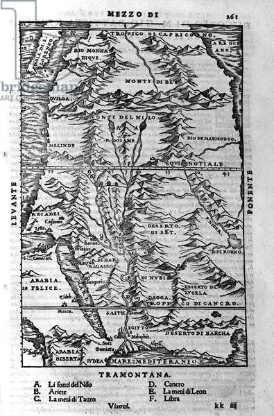 """La course du Nile - in """""""" Cosmographia"""""""" by Sebastiano Munster, 1554"""