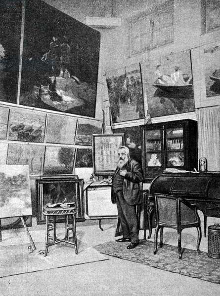 Portrait of the painter Claude Monet (1840 - 1926) in his studio.
