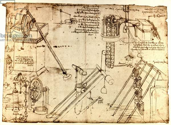 """Hydraulic machines (noria) of Leonard de Vinci (Leonardo da Vinci) (1452 - 1519). They consist of wheels and gears exploiting water energy. Drawing with pen and ink. Double page of the manuscript """"Codex Atlantique"""""""""""