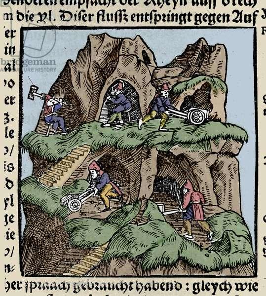"Mines in the 15th century. Engraving from Johann Stumpff's ""Den Edlen Strength Besten Fromen"". beginning 16th century."