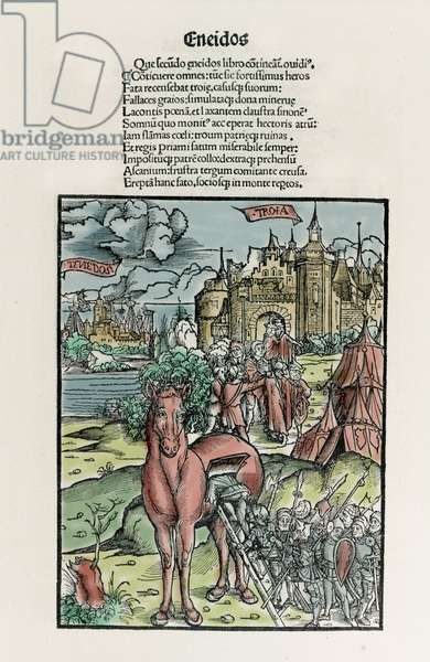 Trojan: Greek warriors leave the horse once it has crossed the city walls. Eneide. Xylography by Sebastian Brant. Strasbourg, 1502.
