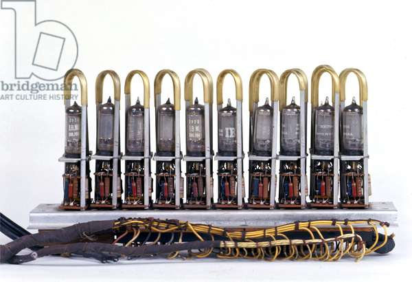 Electronic Discrete Variable Automatic Computer (Edvac): vacuum tube of the printed circuit of the first computer of John von Neumann 1944. Museum of Science and Technology, Milan.