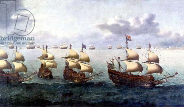 The Prince Royal galleon with Charles I Stuart of England (1600-1649) returning to Plymouth. Painting, 1623. Greenwich National Maritime