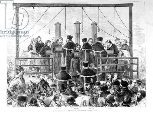 After the attack on Alexander II, the arrested nihilists are hanged.