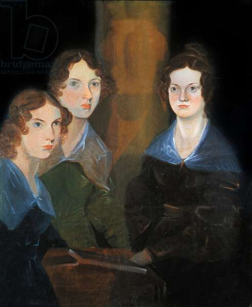 Portrait of the three Bronte sisters: Charlotte Bronte (1816-1855), Emily Bronte (1818-1848) and Anne Bronte (1820-1849), English writers. Painting of their brother Branwell Patrick Bronte (1817-1848). 1834. National Portrait Gallery This reproduction of the original document very damaged has been retouched by us