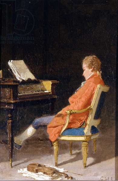 Portrait of Wolfgang Amadeus Mozart at the piano (oil on canvas)