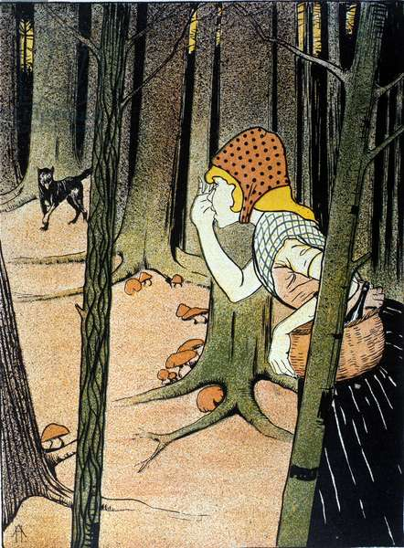 Little Red Riding Hood. Tale of Brothers Jacob Grimm (1785-1863) and Wilhelm Grimm (1786-1859). Illustration by Adolf Hofer, 1898.