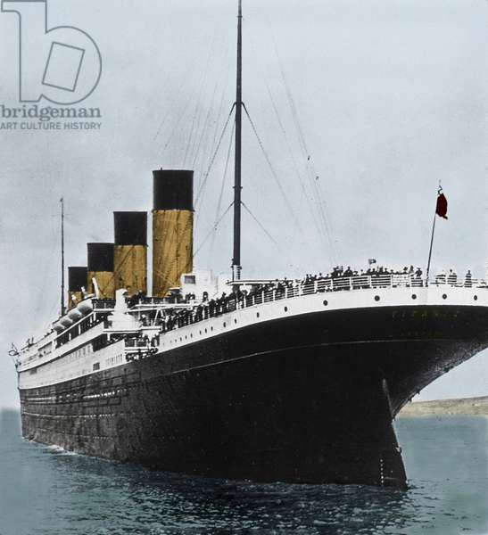 View of the liner White Star liner RMS Titanic, during its inauguration trip. Queenstown, Ireland. 11/04/1912