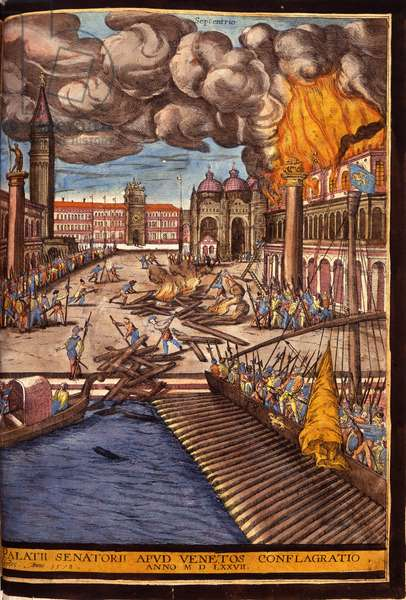 "The Great Fire of the Ducal Palace on St. Mark's Square in Venice in 1577. Engraving by George Braun In """" Civitatis Orbis Terrarum"""" Volume I written by Franz Hogenberg (1535-1590), 1572-1617. (Atlas of Braun and Hogenberg)."