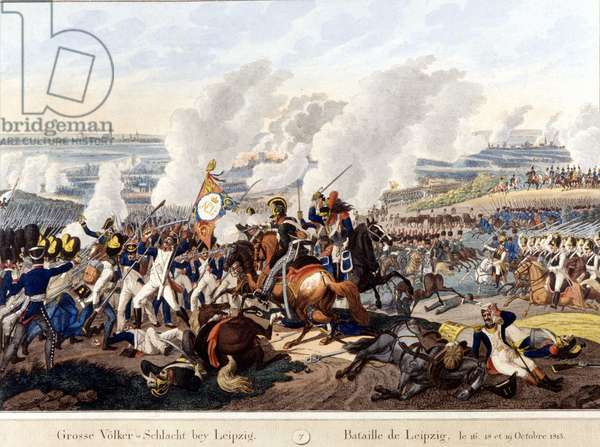 Battle of Leipzig (Battle of Nations), October 16-19, 1813 - Engraving of the period