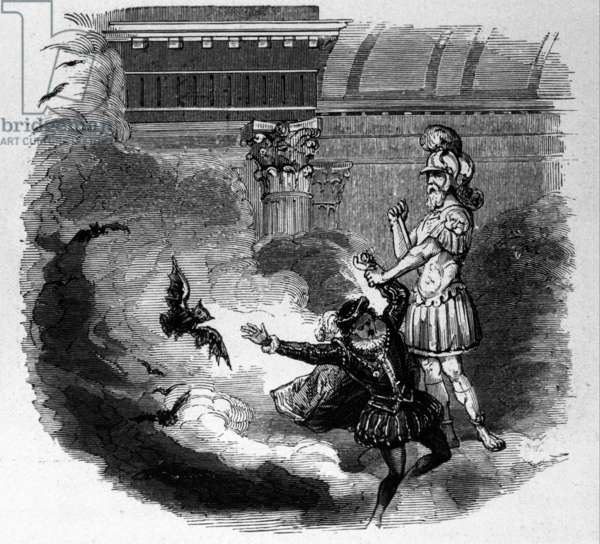 Il Commendatore leads Giovanni into the World of the Dead, scene from Don Giovanni (engraving)