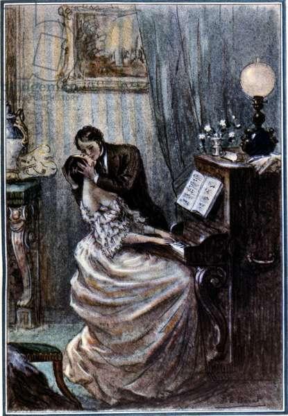 Scene from 'La Dame aux Camelias', 1935 (colour litho)