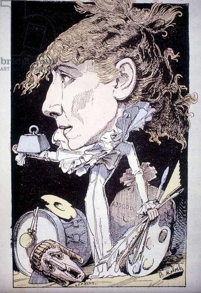 """Cartoon of Henriette Rosine Bernard aka Sarah Bernhardt (1844-1923), -in """""""" Le Trombinoscope"""""""" by Moloch."""