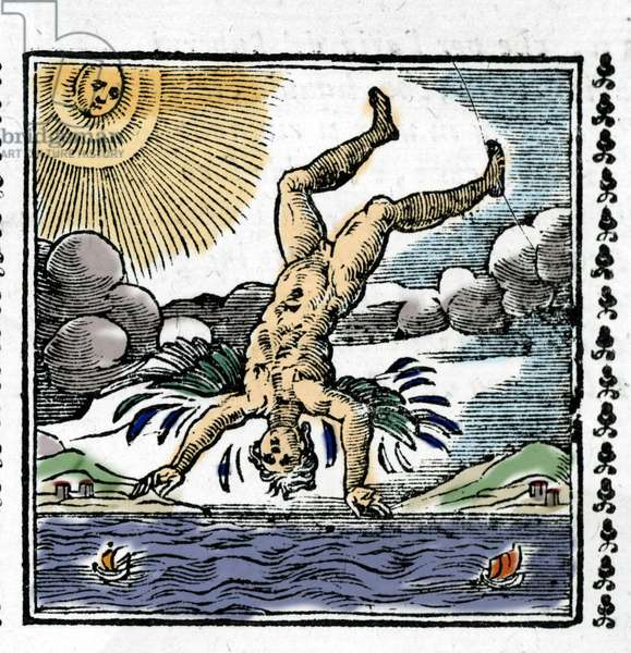 The Fall of Icarus - The Fall of Icarus. Colourful Xylography. 16th century.