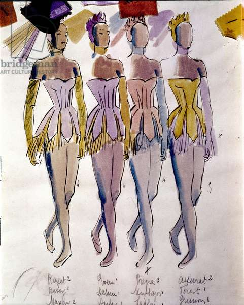 """Costumes directed by Andre Delfau (in 1914) dancers of """"Serenade"""" by Piotr or Petr Ilyich Tchaikovsky (or Tchaikovsky or Ciajkovskij or Tchaikowsky, 1840 - 1893) staged by George Balanchine (1904-1983), 30/04/1947."""