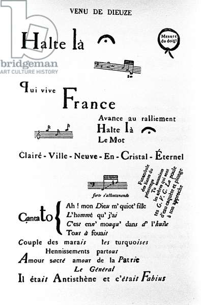 """Calligram (rhebus) by Guillaume Apollinaire (1880-1918): """""""" Come of Dieuze"""""""""""