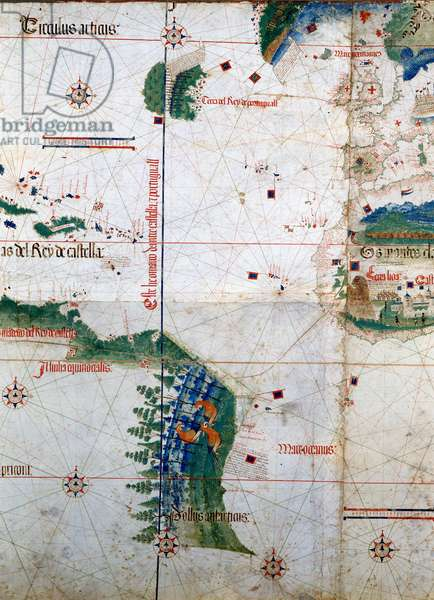 Planisphere of Cantino: Map of Alberto Cantino from 1502 representing the boundary line imposed by the Treaty of Tordesillas (1494) between Portuguese and Spanish America. Biblioteca Estense. Modena