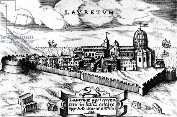 Map of the city of Loreto (Laurentum), engraving 16th century.