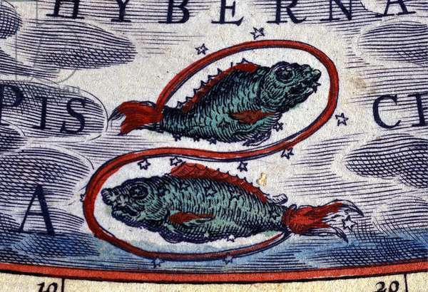 Horoscope: sign of the zodiac, Pisces. 16th century engraving.