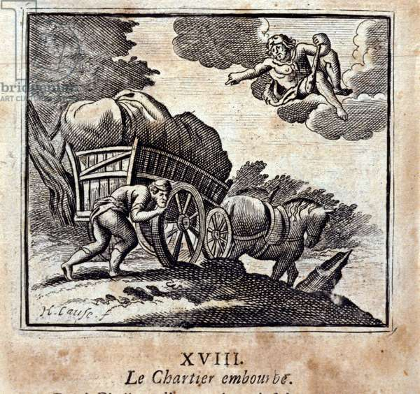 The Chartier is bothering. Fables by Jean de La Fontaine (1621-95). Illustration by François Chauveau (1613-1676). Edition of 1728.