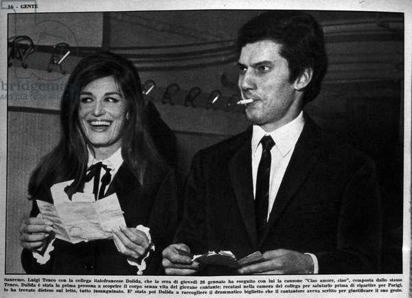 Suicide of Luigi Tenco in February 1967: Sanremo. Italian singer Luigi Tenco (1938-1967) and singer Dalida (1933-1987) during the Italian Song Festival. 02/1967.