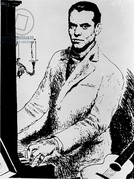 Portrait of the Spanish writer Federico Garcia Lorca (1898-1936) playing piano. Feather drawing by Rafael Pena Attention! Use of this work may be subject to a third party authorization request or additional fees