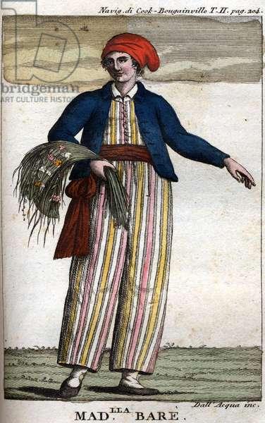 Portrait of Jeanne Barret (hand-coloured engraving)