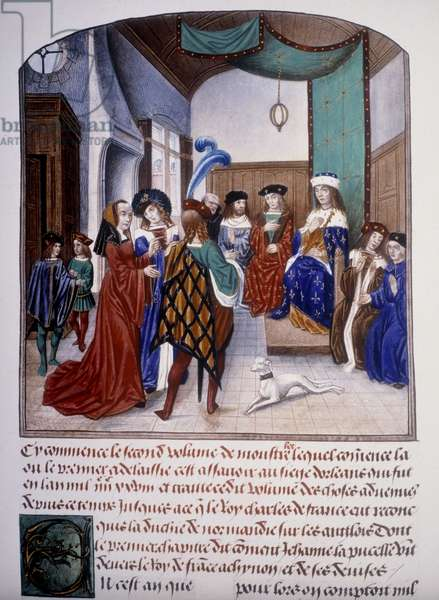 """Joan of Arc before the Charles VII Dauphin in Chinon, 9/3/1429 - in """"The Chronicles of Monstrelet"""", British Museum, London."""