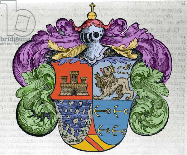 """Coat of arms of navigator Christopher Columbus (1451-1506): the four parts of the ecu represent at the top the city of Castile and Leon, below the uncovered islands and the symbol anchors of the admiraut. Engraving from the book """""""" Navigationi and Viaggi"""""""" vol. III by Giovanni Battista Ramusio (1485-1557), Venice 1565."""