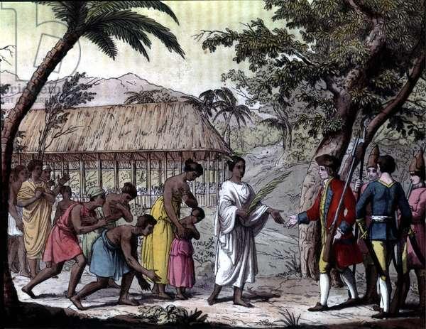 "Receipt of the navigator Samuel Wallis by Queen Oberea in Tahiti. """" Navigations of Cook"", Milan, 1825."