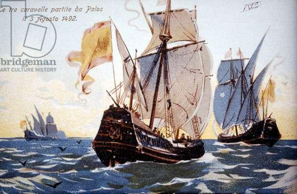 The three Caravels of Columbus leave Palos on 3/08/1492.