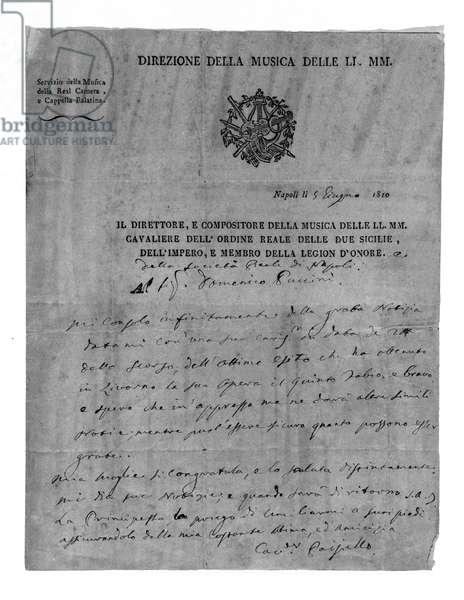 Letter from Giovanni Paisiello (or Paesiello or Paesieillo) (1740-1816), Italian composer at Domenico Puccini, grandfather of Giacomo Puccini. 1810. Milan Museo teatrale della Scala.