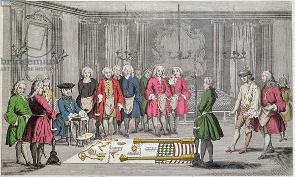 """Freemasonry - Assembly of Masons for admission of new members - Freemasonry: """""""" Assemblee de francs macons pour l'admission des apprentices"""""""" Ceremony for the entry of the recipient into the lodge - He moves, with his eyes strips, guided by the second supervisor, towards the Grand Master (sitting on the left) - On the floor are represented various symbols franc macons (sun, column, compas, square...). Engraving around 1750"""