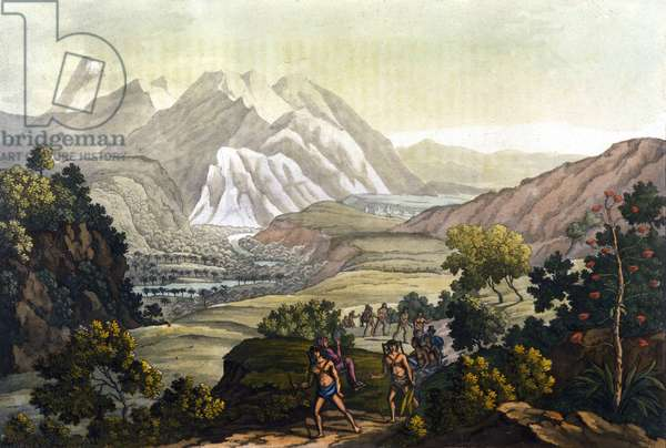 Humboldt and Bonpland cross the mountain of Quindiu on carrier chairs. From the trip to the Andes by Alexander Von Humboldt (Alexandre de Humboldt, 1769-1859) and Aime Jacques Goujaud dit Bonpland (1773-1858), 19th century