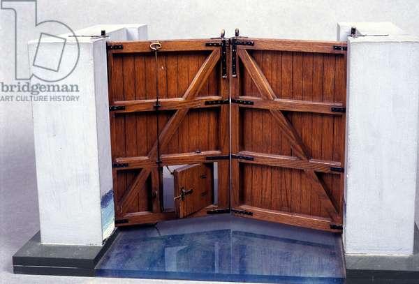 A river lock. Model from the drawing of Leonardo da Vinci (Leonardo da Vinci). Museum of Science and Technology, Milan.