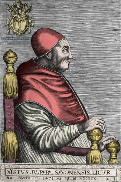 Portrait of Pope Sixtus IV elected in 1471 and died in 1484.