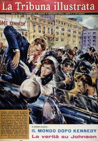 """The assassination of John Fitzgerald Kennedy (1917-1963) in Dallas - in """"La Tribuna Illustrata"""""""", December 8, 1963."""