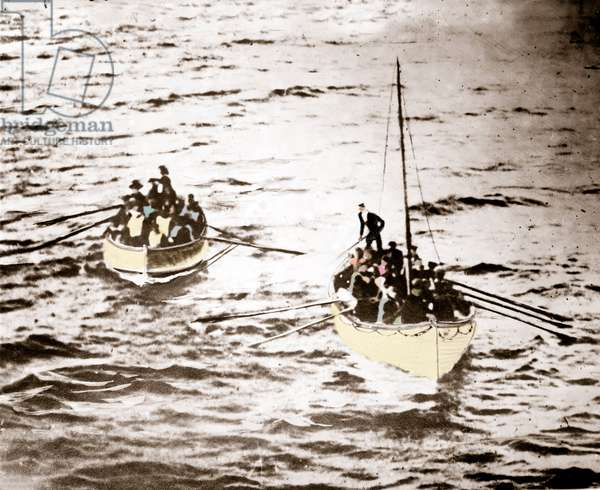 Photograph probably taken by passenger J.W. Barker of rescue boats loads of Titanic survivors during the shipwreck in April 1912, taken from Carpathia.