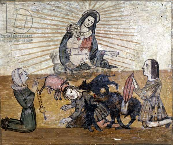 A young boy attacked by a group of wild pigs (wild boars). Ex voto of the 16th century of the sanctuary of the Madonna del Monte near Cesena (Forlí).