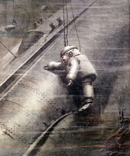 """Artiglio's diver joins the submarine """"""""Prometheus"""""""", sunk in the sea, hits the hull in the hope of finding survivors. Sd. early 20th century."""