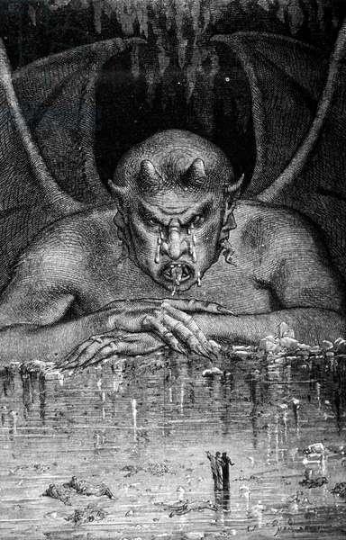 Dante et Virgil traverse les enfell in The Divine Comedy by Dante Alighieri (1265 - 1321): Satan devours the dances. Engraving by Gustave Doré. 19th century.