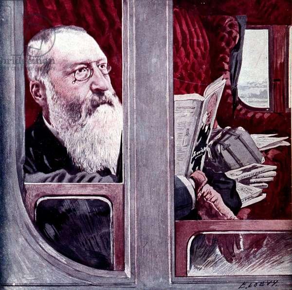 Portrait de Leopold II, roi de Belgique (1835 - 1909). Illustration du debut du 20eme siecle.