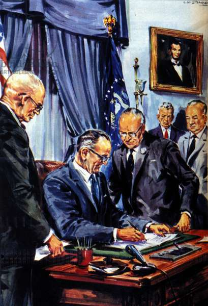 The Civil Rights Act in the United States was passed on July 2, 1964 to prohibit racial discrimination in public places and for the registration of blacks; it was passed thanks to Democratic President Johnson, who overcame opposition from southern senators.