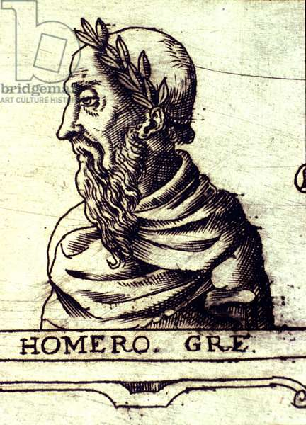 Portrait of Homer (9th century BC). Engraving of 1560 from the Atlas of Urbano Monte