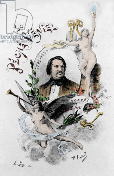 """Frontispice of """"The veniel sin"""" by Honore de Balzac. Illustration of Paul Avril (1843-1928) of 1901."""
