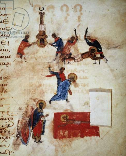 Different types of martyrs of Christians: suspended by the feet, whipped, beheaded or even on the embers. Greek manuscript from the 11th century.