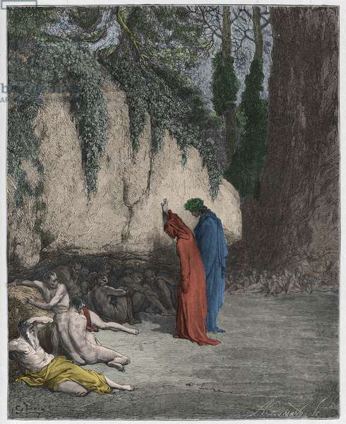Purgatorio, Canto 4 : The indolent souls beside the rock, illustration from 'The Divine Comedy' by Dante Alighieri, 1885  (digitally coloured engraving)